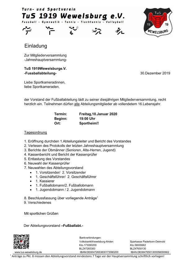 Generalversammlung - Fußballabteilung